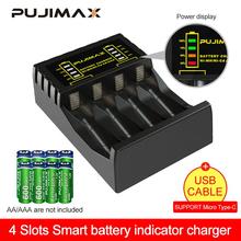 PUJIMAX 4 Slots Elektrische Batterie Ladegerät Intelligente Schnelle Led-anzeige USB Ladegerät Für AA AAA Ni-Mh Ni-cd Akku cheap CN (Herkunft) N4008 Standardbatterie