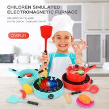 1Set Simulation Pretend Play Electric Microwave Oven Induction Cooker Home Kitchen Appliance Child Kids Housework Toys R7RB