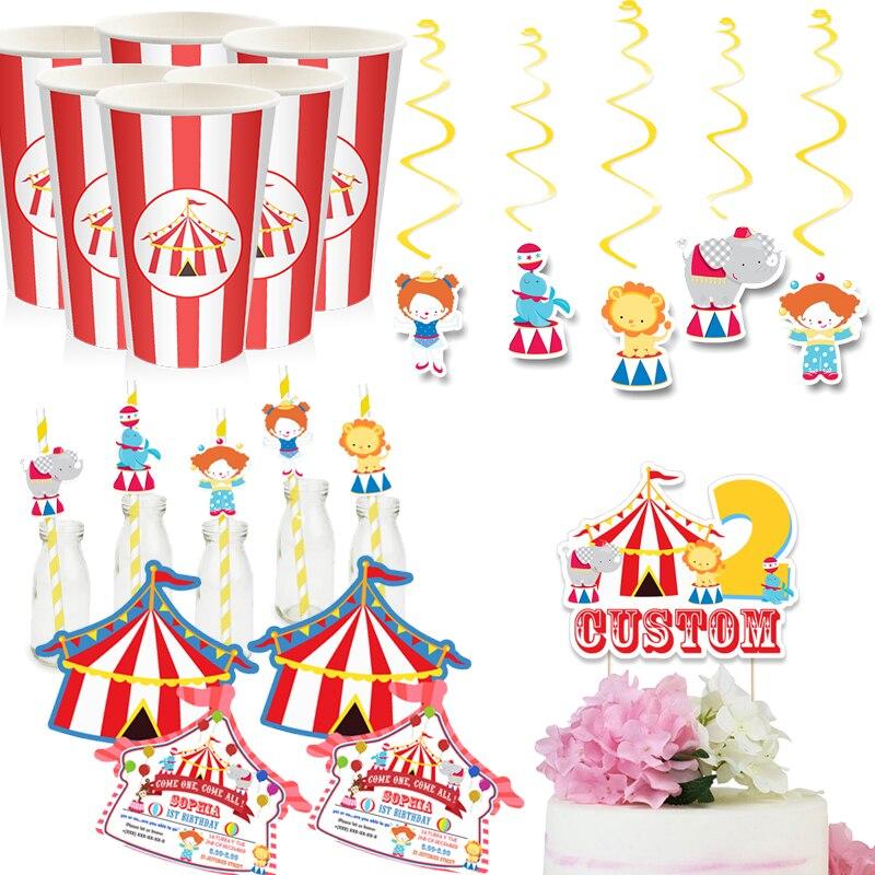 Цирковая вечеринка, товары для дня рождения, карнавальный Топпер для торта, бумажные чашки, приглашения, подвесные декоративные коробочки д...