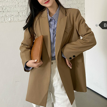 Blazers Women Notched Long Sleeve Single Button Thin Coats Loose Office Lady Jackets Female Korean 2020 Autumn Women's Clothing elegant blazer women long sleeve jackets coats office lady outwear casual korean fashion female outfit clothing autumn 2020