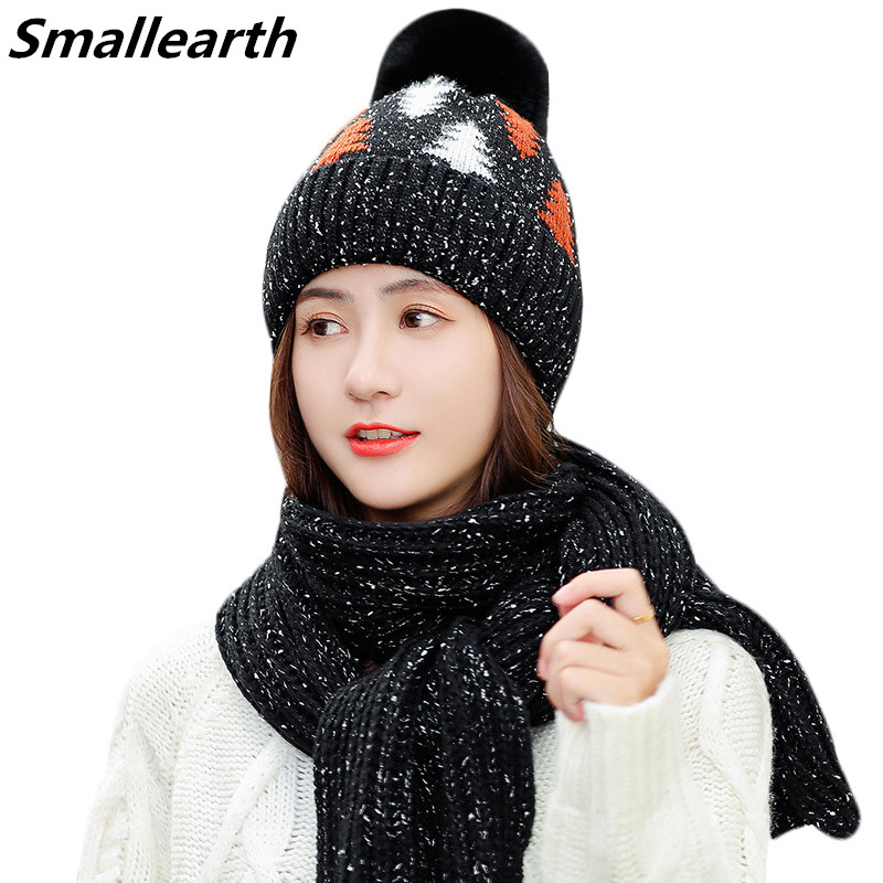Women 2 Pieces Set New Winter Hat And Scarf Set For Girls Plus Velvet Thick Warm Cap Female Winter Casual Windproof Knitted Hats