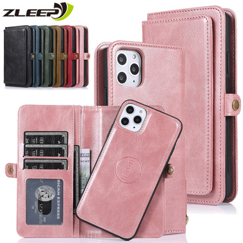 Leather Wallet Case Flip Cards Cover For iPhone 12 Mini 11 Pro XS Max XR X 6 6s 7 8 Plus SE 2020 Car Holder Magnetic Phone Case