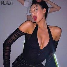 KLALIEN ファッションセクシーな V ネックメッシュパッチワークシャツ女性ストラップレス長袖クロップトップ 2020 ホット販売クラブパーティーナイトシャツ mujer
