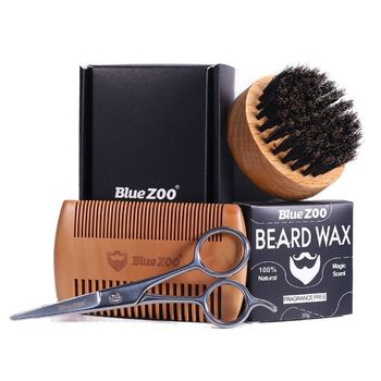 4Pcs/Set Bristle Shaving Brush Beard Wood Comb Mustache Scissors Men Styling Kit 1