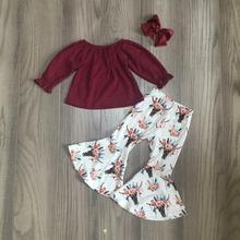 Jesień/zima dziewczynek ubrania dla dzieci zestaw stroje boutique mleka jedwabiu wino krowa floral leopard spodnie marszczone bawełna mecz łuk