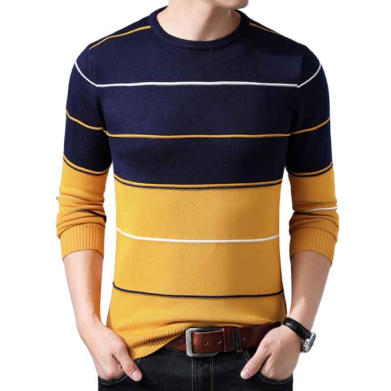 FAVOCENT Men's Sweaters Male Pullover O-Neck Classic Homme Knittwear Autumn Striped Casual