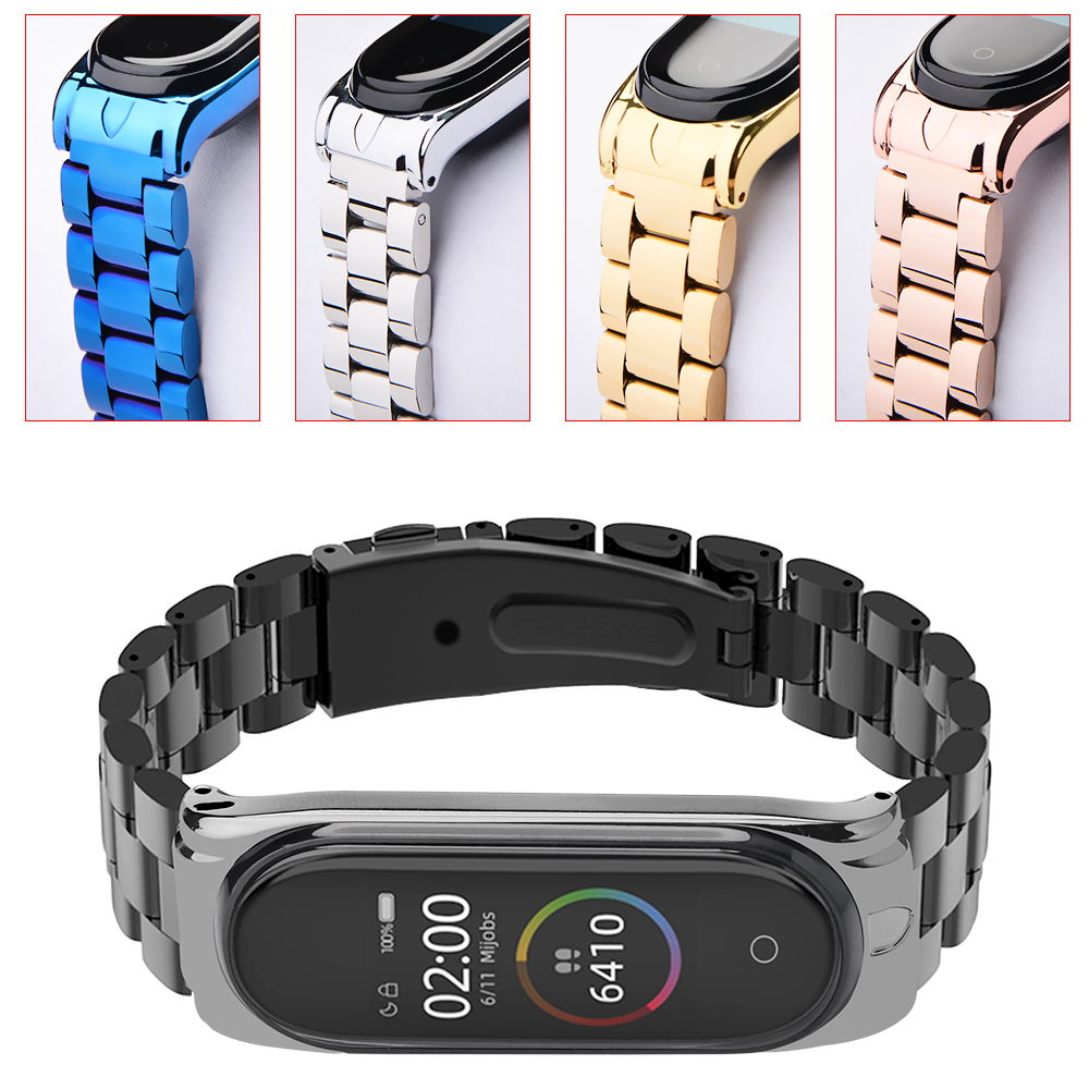 Hangrui For Mi Band 4 3 Metal strap Stainless steel wrist strap for Xiaomi Mi band 3 bracelet For Mi band4 wirstbands NFC Global(China)