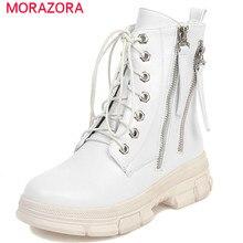 MORAZORA 2020 מכירה לוהטת נשים קרסול מגפי רוכסן תחרת סתיו חורף קצר מגפי אופנה מקרית שטוח פלטפורמת נעלי נשי