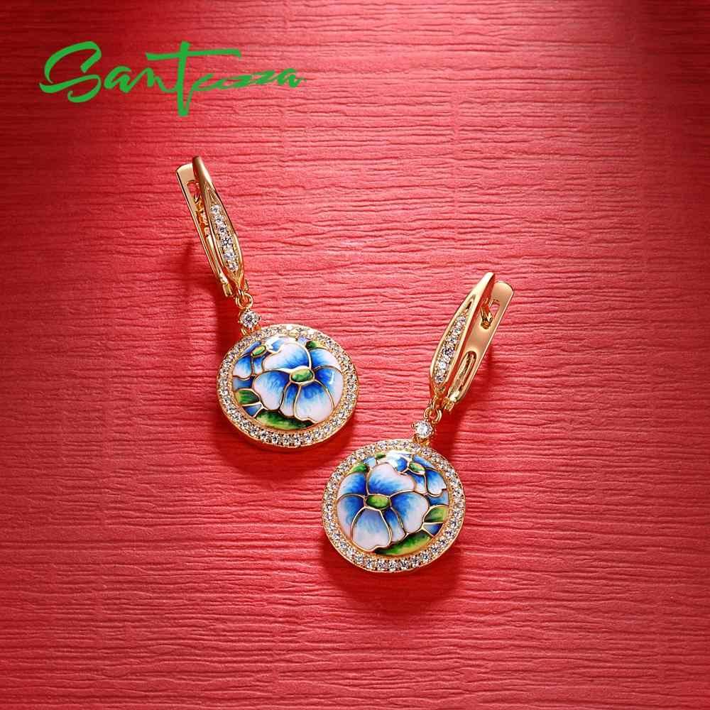 SANTUZZAชุดเครื่องประดับสำหรับผู้หญิง 925 เงินสเตอร์ลิงBlue Orchid Enamelต่างหูแหวนสร้อยข้อมือชุดเครื่องประดับอินเทรนด์