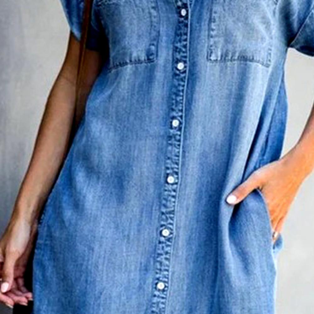 Women Short Sleeve Pockets Single-breasted Irregular Hem Knee-length Loose Dress Polyester Women Summer Dress Lady Dress 6