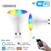 Aleleke Tuya GU10 WiFi Smart Light LED Bulbs RGBCW 5W Dimmable Lamps Smart Life Remote Contro Work with Alexa Google Home