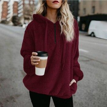 Wipalo Women Fleece Hoodies 2019 Long Sleeve Hooded Pullover Sweatshirt Autumn Winter Warm Zipper Pocket Fur Coat Plus Size 5XL 2