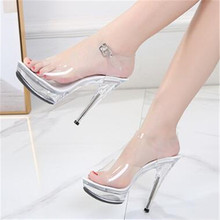 2020 New Sexy Shoes Women High Heels 13cm Summer Woman Transparent Crystal Shoes Sandals Thin Heel Wedding Shoes Big Size 34-43