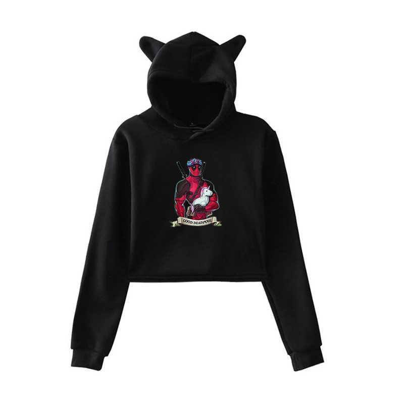 Mode Einhorn Druck Frühling Herbst Kleidung Harajuku Frau Hoodies Mädchen Dame Sweatshirts Dropshipping Cropped Casual Tops