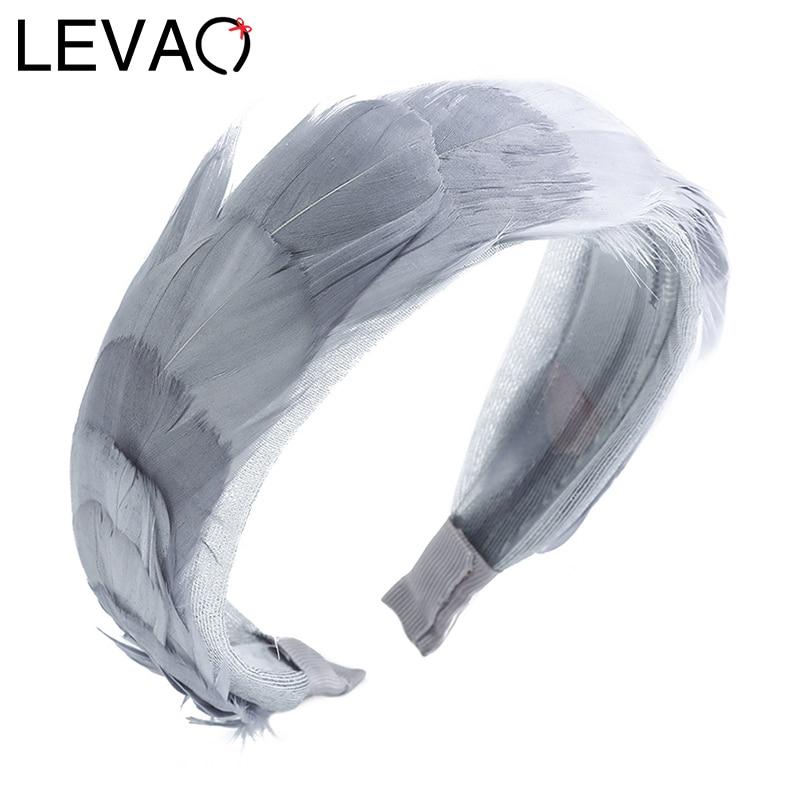 LEVAO Feather Hairband Solid Color Headband Bezel Mesh Boho Turban For Women Girls Hair Accessories Hair Hoop Headwear Headdress