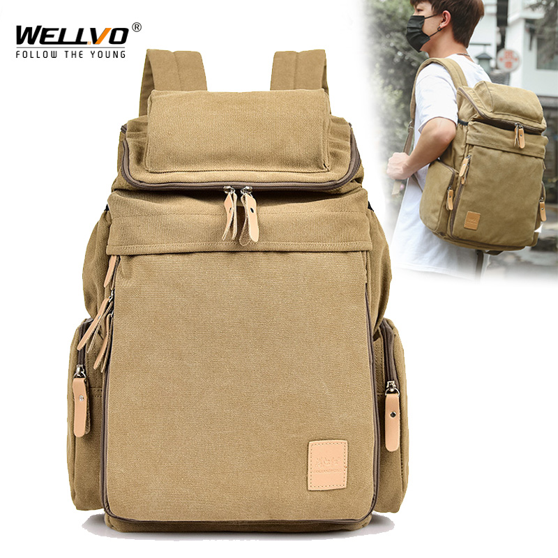Wellvo Top Quality Canvas Large Capacity Travel Backpacks Men Casual Bag Casual Bucket Bags For Travel Bags XA25ZC