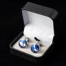 Fashion globus spinki do mankietów klasyczny niebieski emalia okrągły mapa świata spinki do mankietów dla mężczyzn biżuteria francuska koszula formalne na wesele prezent