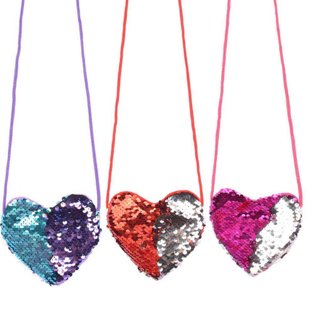 Nueva llegada lentejuelas amor corazón niños hombro moneda bolsa bebé niñas Mini mensajero bolsa dibujos animados niños pequeño monedero niños MANO