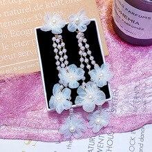 Trendy Acrylic Water Drop Women Dangle Earrings Pearl Flower Long Pendant For Drops