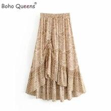 Boho Queens kadınlar çöl çiçek baskılı İpli elastik bel Bohemian Maxi etekler bayanlar rayon asimetrik boho etek