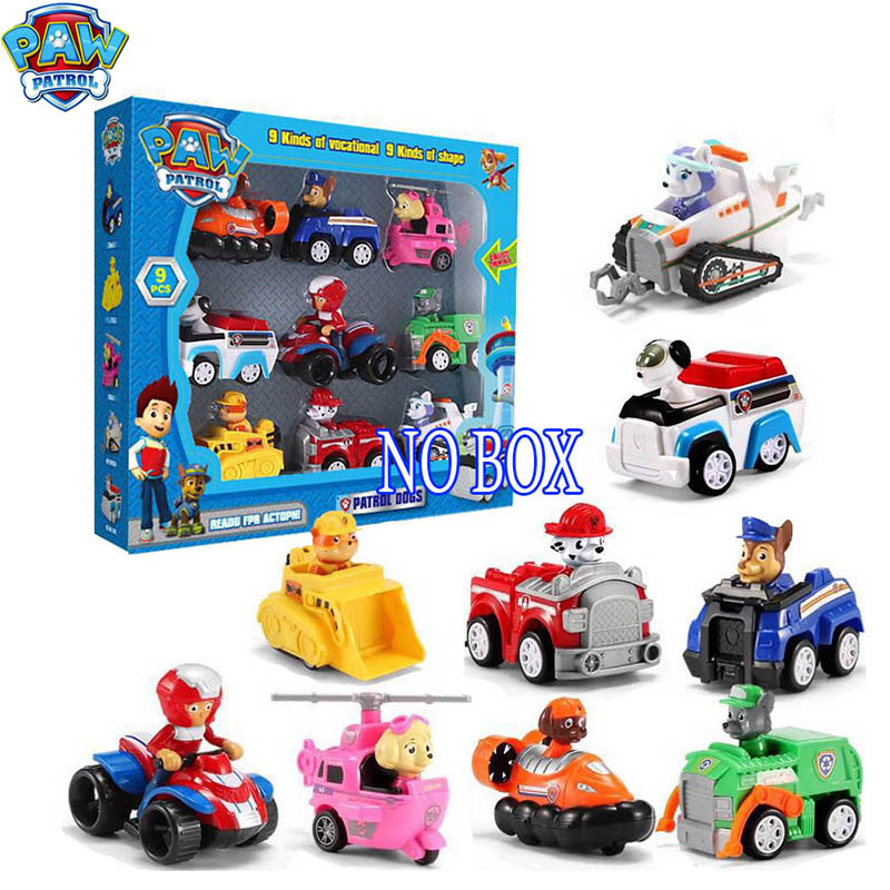 9Pcs Paw Patrol Toys Set Puppy Patrol Everest Car Patrulla Canina Cartoon PVC Action Figures Model Kids Toys For Children 2D82