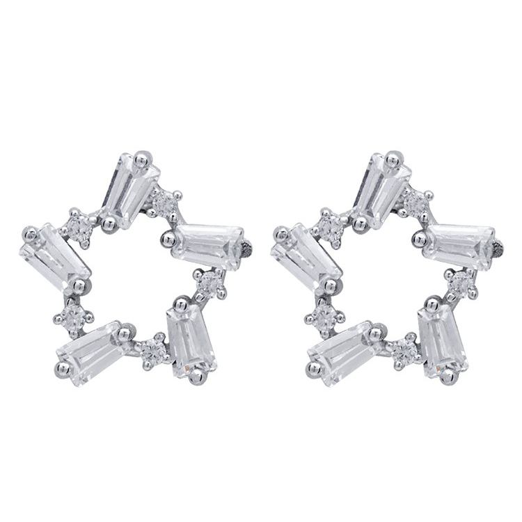 Korean Girl Heart Sweet Cute Hollow Star Stud Earrings For Women Simple Zircon Pentagram