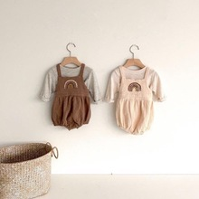 2020 Baby Autumn Rainbow Suit Bib + Striped T-shirt Two-piece Suit Kids Girls Clothes Outfits  Baby Girl Clothes