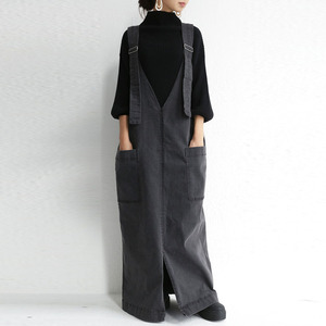 Fashion Korean Chic One-piece Denim Dresses Fashion Suspenders For Women Black Jeans Long Maxi Dress Plus Size Floor Length