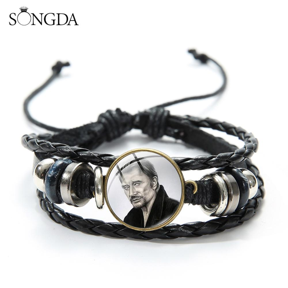 SONGDA Rock Star Johnny Hallyday Souvenir Bracelets Hand Craft Punk Black Leather Bracelets Jewelry For Men Women Concert Gifts