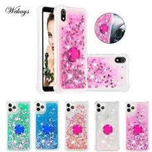 Case For Redmi 7A Finger Ring Phone Case For Xiaomi Redmi 5 5A 6 6A 7A 4A 4X S2 Y2 Soft Glitter Liquid Holder Back Cover Coque(China)