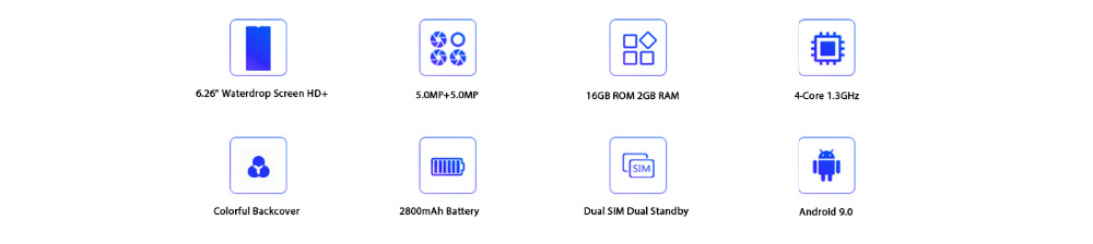 Xgody 3G teléfono móvil Note7 2GB 16GB Smartphone 6,26 3