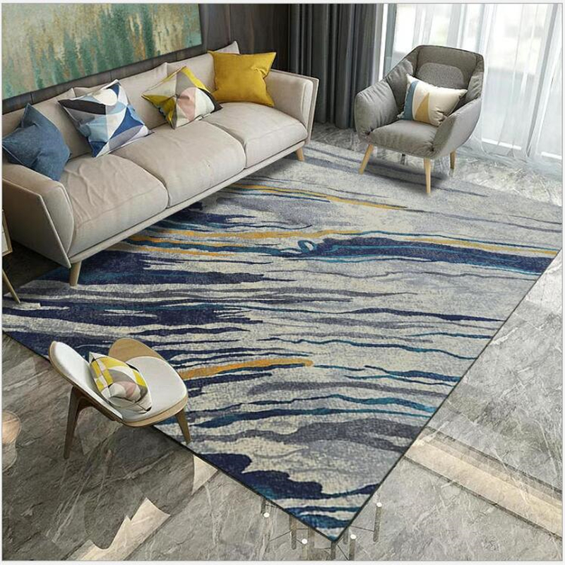Tapis pour salon Style nordique Simple doux Polyester chambre tapis plancher porte tapis salon Table accessoires
