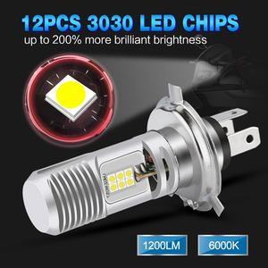 Image 2 - Bombilla LED para faro delantero de motocicleta, 1200lm, superbrillante, blanca, 6000K, alta/Baja, H4, P15D HS1, 1 Uds.
