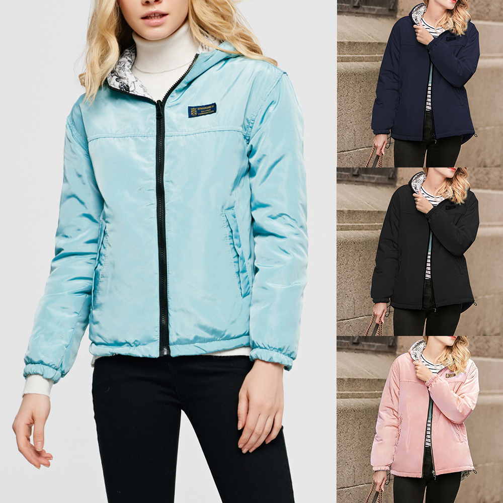 Jacket Women Thick Parka Coat Solid Warm Hooded Winter Jackets Cotton Padded Basic Coats Female Reversible Outerwear 2019