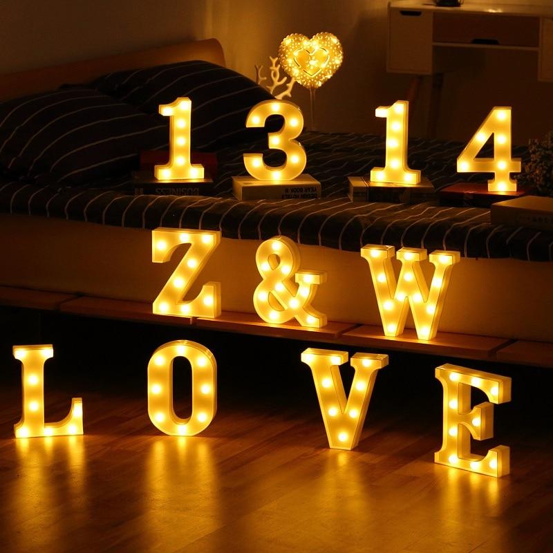 Светящиеся буквы 26 Английский алфавит светодиодный светильник с буквами Креативный светодиодный аккумулятор ночник Романтическая Свадеб...