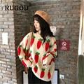 Женский свитер с круглым вырезом RUGOD  повседневный трикотажный пуловер в Корейском стиле с принтом моркови  Осень-зима 2019
