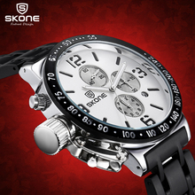 цена на SKONE Stopwatch  6 Hands 24 Hours Function Chronograph Sport Watches Men Military Casual Watch Steel Band relogio masculino