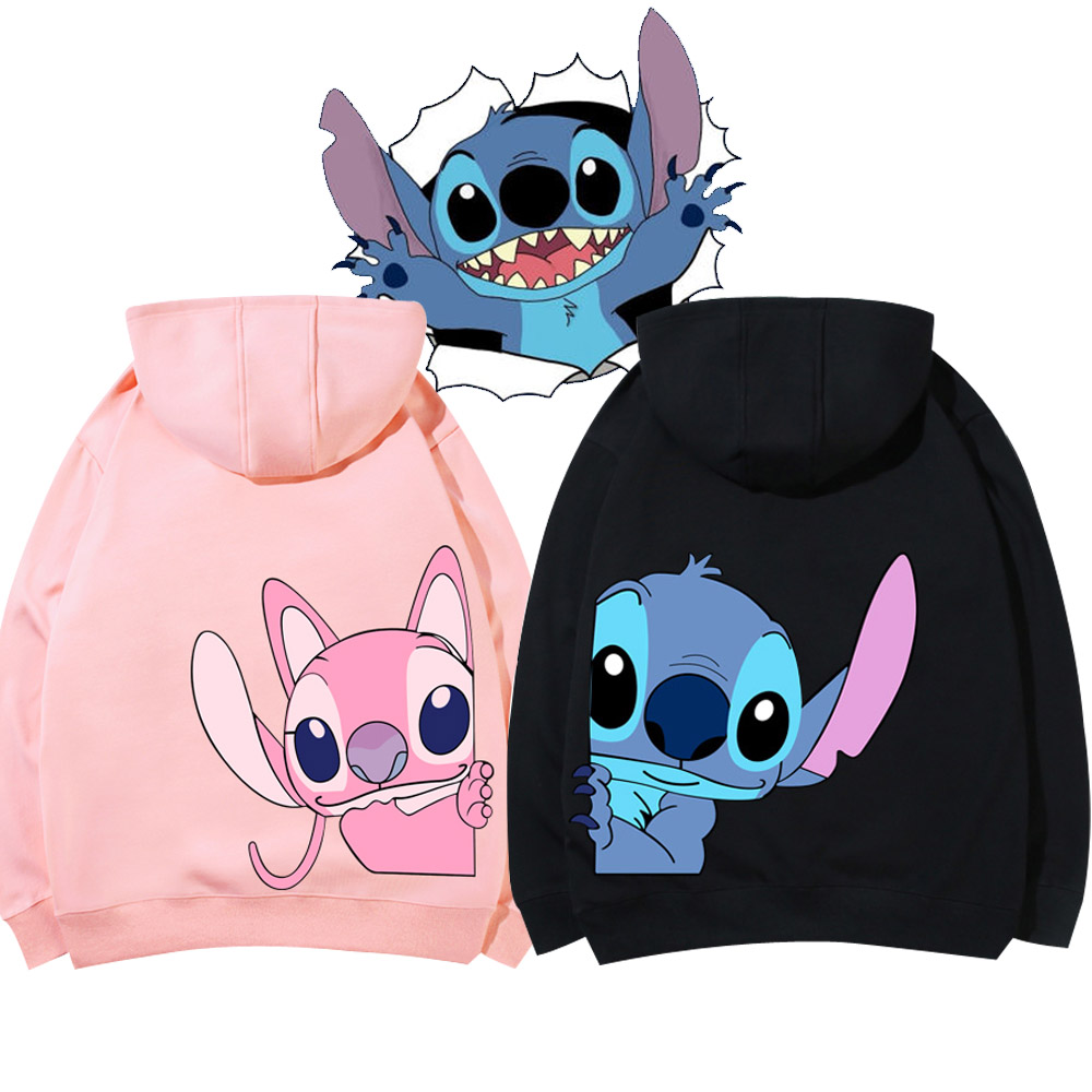 Disney Sweatshirt Chic Stitch Little Monster Cartoon Print Hoodie Pullover Couples Unisex Women Sweatshirt Pocket Tops 6 Colors 1