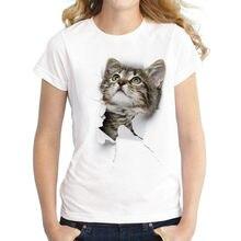 T-Shirt manches courtes col rond femme, estival et décontracté, avec impression de chat en 3D, vêtements bon marché, Mode chinoise, Harajuku