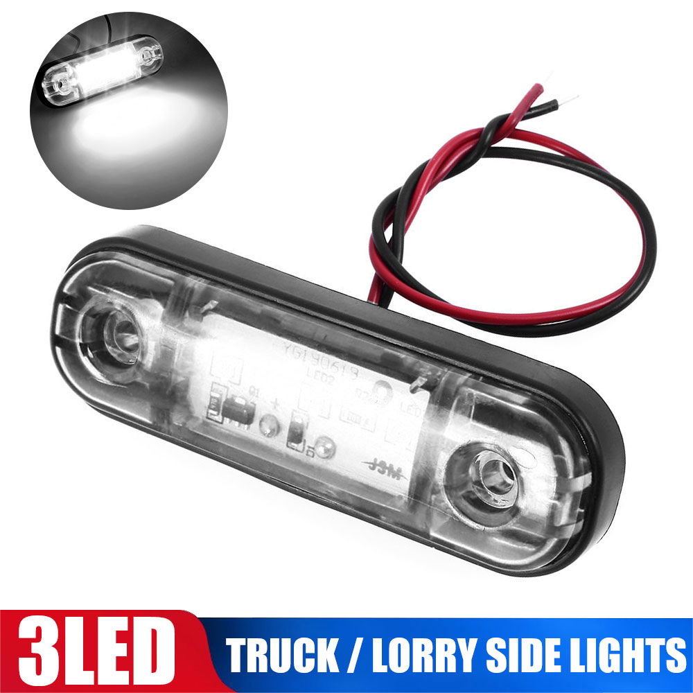White LED Marker Light Trailer Truck Pickup RV LED Side Marker Lamp DC10-30V Waterproof 3LED Signal Warning Light