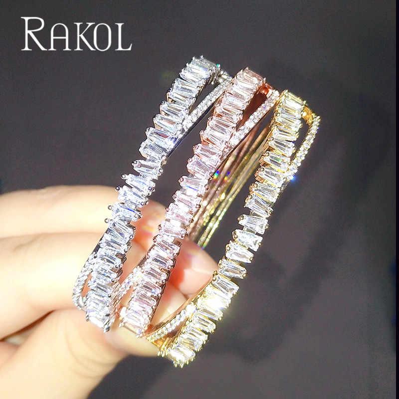 RAKOL แฟชั่น AAA Cubic Zirconia ผู้หญิง Baguette สร้อยข้อมือกำไลข้อมือฐานทองแดงทองสีหนาเครื่องประดับ RS1138