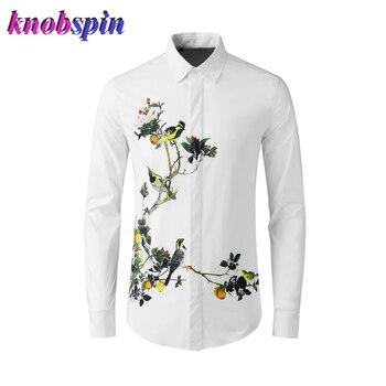 Fashion Printed Long sleeve men Shirt high quality 100% Pure Cotton Shirts men Casual slim Business male Camisas plus size M-4XL
