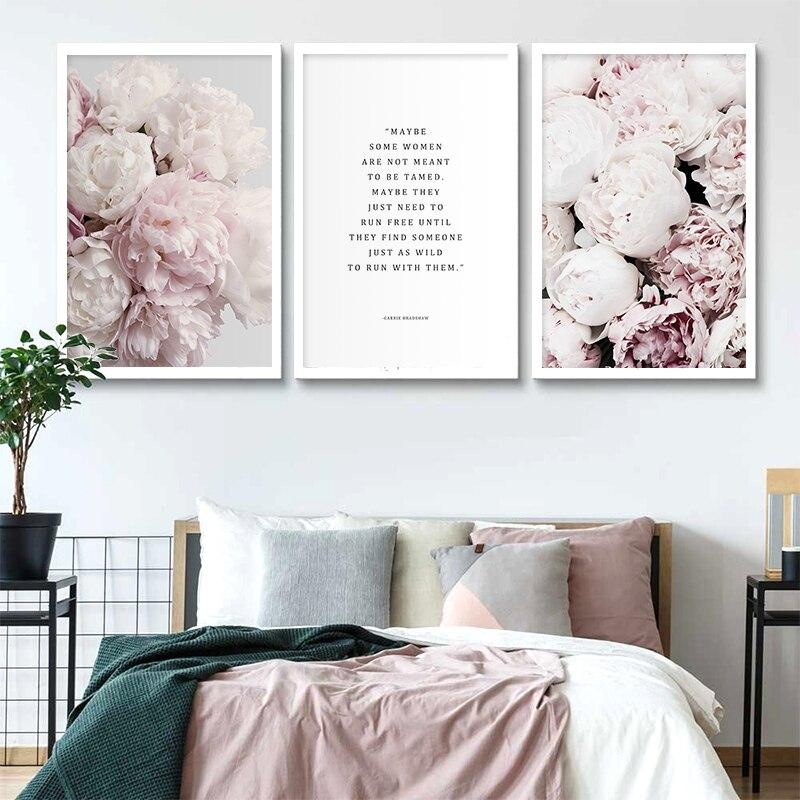 Escandinavo Cartaz Da Lona Da Arte Da Flor Peônia Rosa Floral Imprimir Pintura Estilo Nórdico do Retrato Da Parede Decoração Moderna Sala de estar