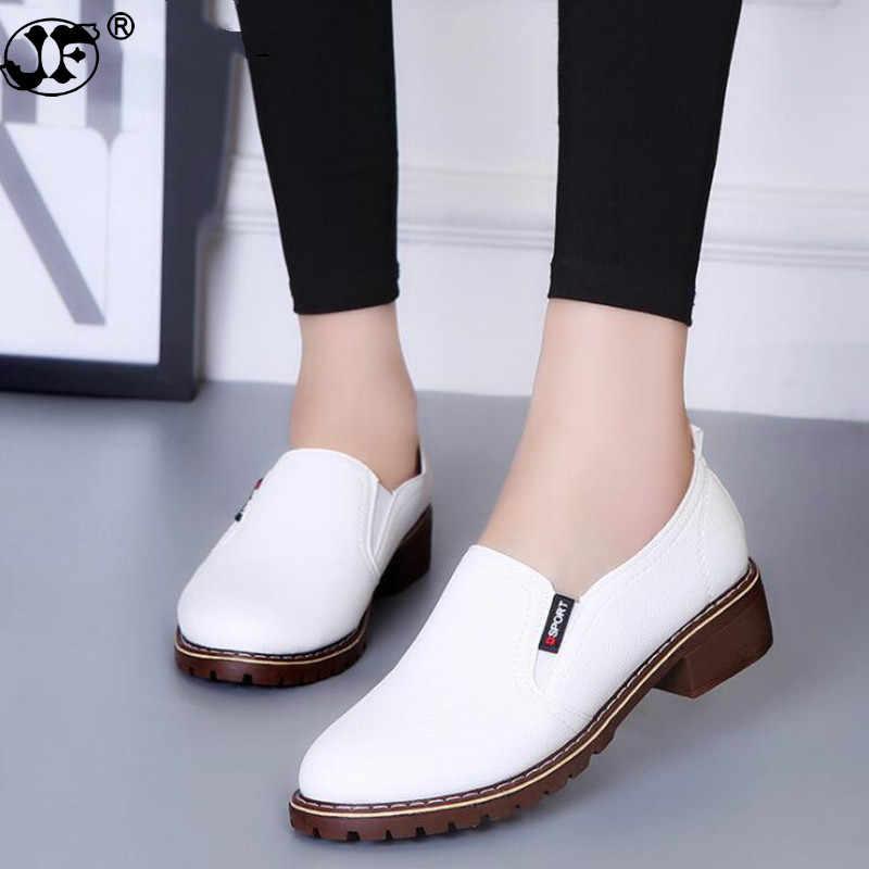 2019 nuevos zapatos planos de Mujer Zapatos Oxford de punta redonda con cordones zapatos de mujer de cuero genuino Brogue zapatos de mujer envío gratis tyu89