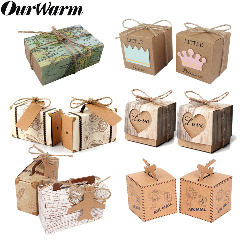 OurWarm 50pcs Vintage Travel Candy Box Bags Kraft DIY Wedding Birthday Suitcase Heart Airplane Gift Packaging Box Baby Shower image