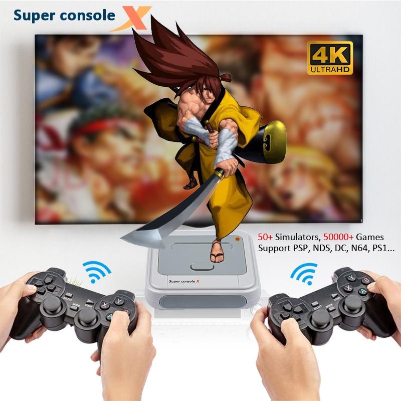 Super konsola X konsole do gier wideo Mini telewizor gra Retro odtwarzacz z bezprzewodowymi kontrolerami 2.4G na PSP/PS1/SNES/N64/MAME