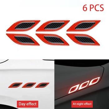 stickers for car 6Pcs/Set Car Reflective Strips Carbon fiber Car Sticker Truck Auto Motor Anti-Scratch Safety Warning Sticker Ca 7