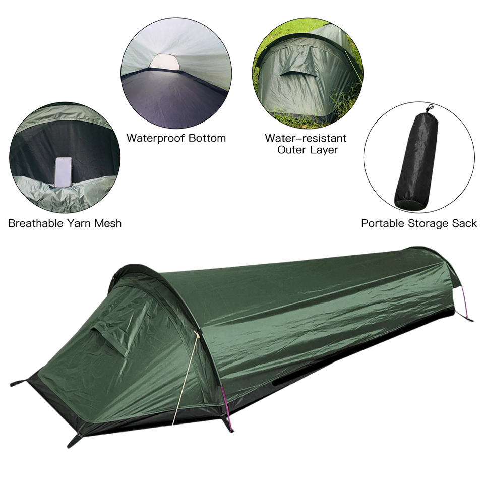 Waterproof Camping Tent Ultralight Travel Sleeping Bag Tent 1 Person Backpacking