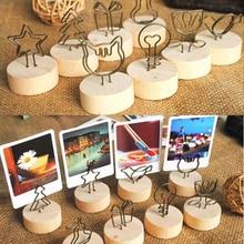 Picture-Frame Pendant Photo-Clip Name-Card Memo Wooden Creative Family Iron Round DIY