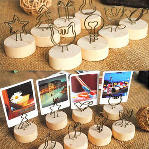 4CM Creative Round Wooden Iron Photo Clip Memo Name Card Pendant Furnishing Articles Picture Frame DIY Family Photo Decoration